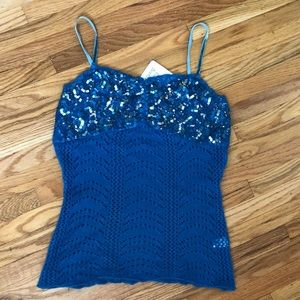 Teal Blue Cashmere Velvet Straps Beaded Top XS